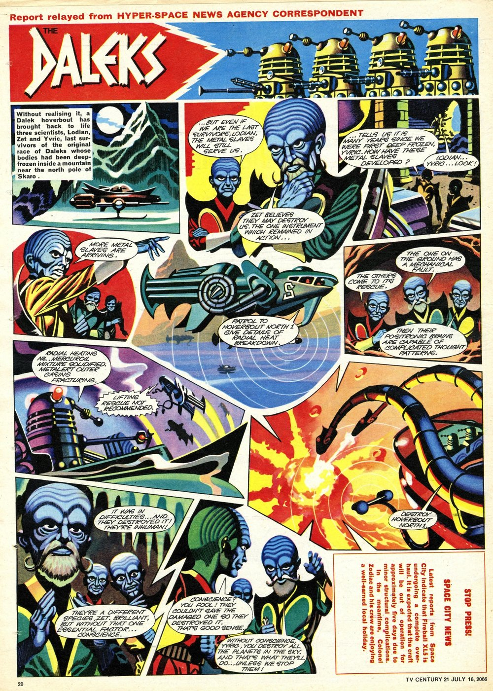 TV Century 21, no. 78, 16 July 2066 (1966), showing new masthead on the Daleks strip