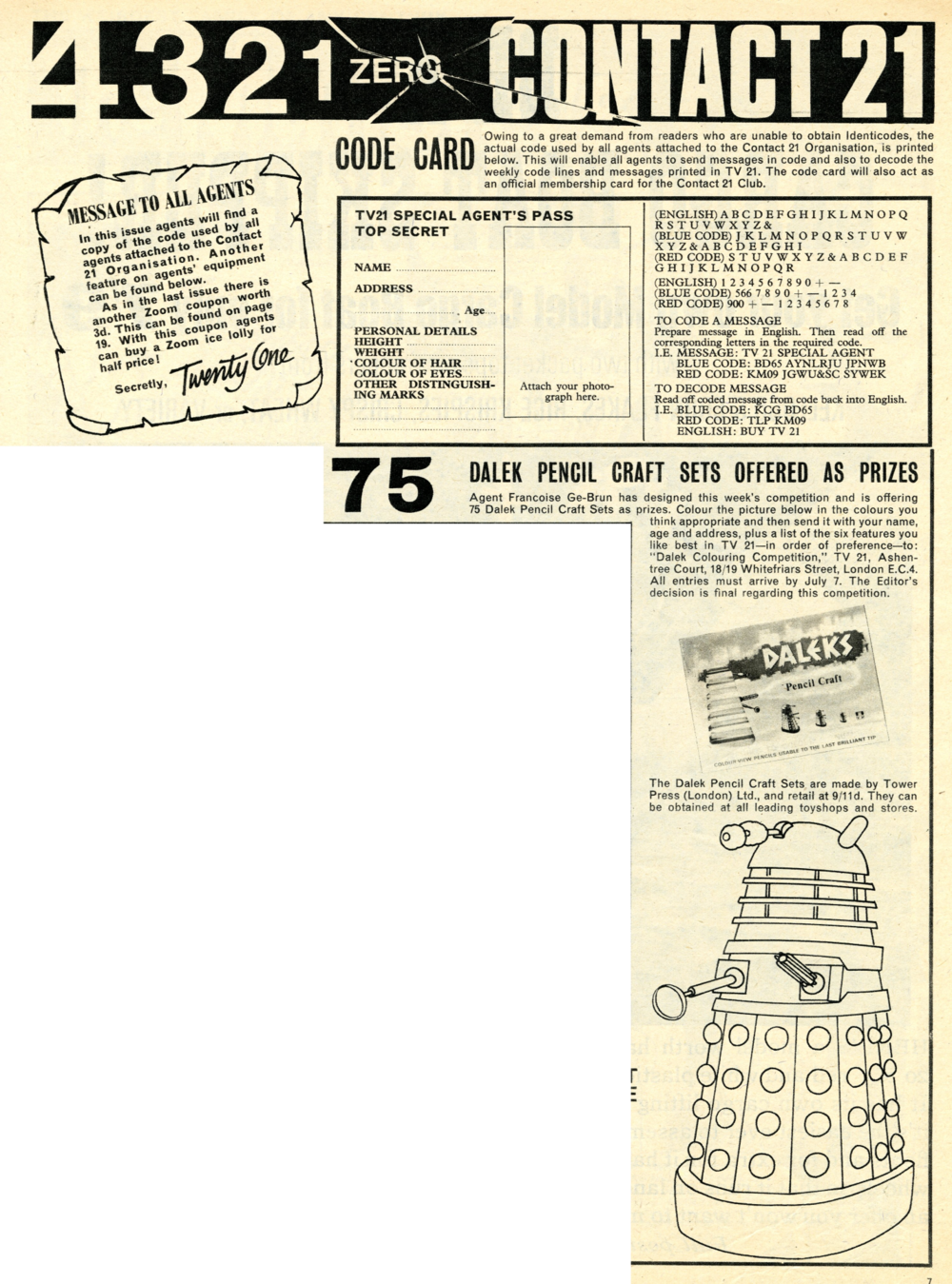 Competition offering the Tower Press Dalek Pencil Craft set in TV Century 21, no. 76, 2 July 2066 (1966)