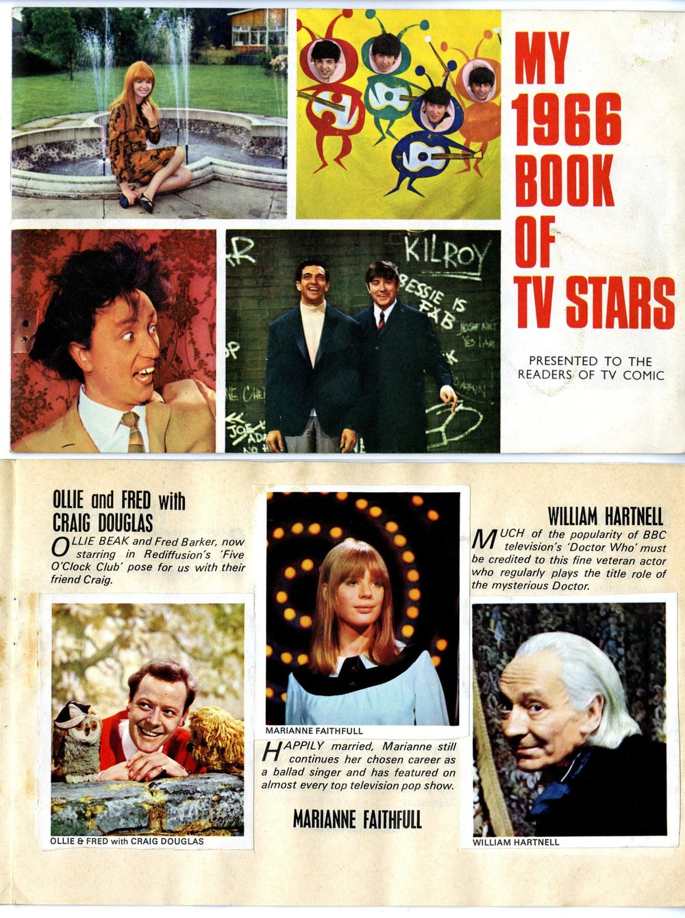 My 1966 Book of TV Stars (showing the William Hartnell sticker), presented free with TV Comic