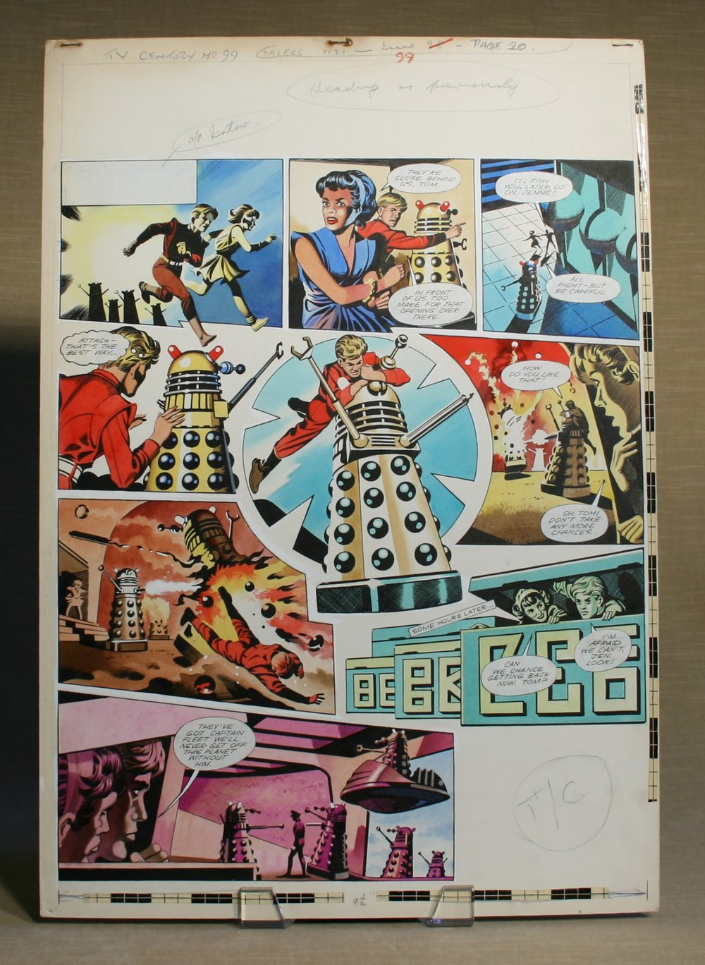 Original artwork for the Dalek strip in TV Century 21, no. 99