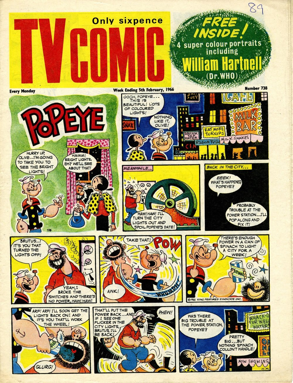 TV Comic, no. 738, 5 February 1966, advertising the free William Hartnell sticker