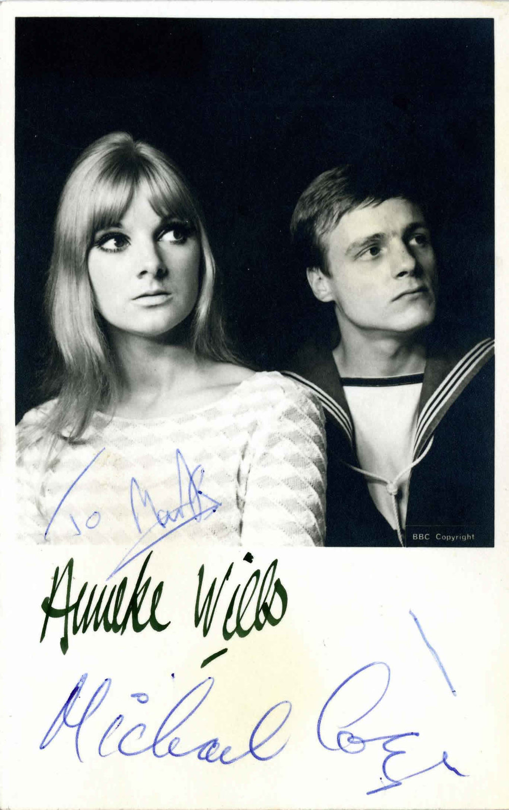BBC Cast Card of Anneke Wills and Michael Craze as Polly and Ben