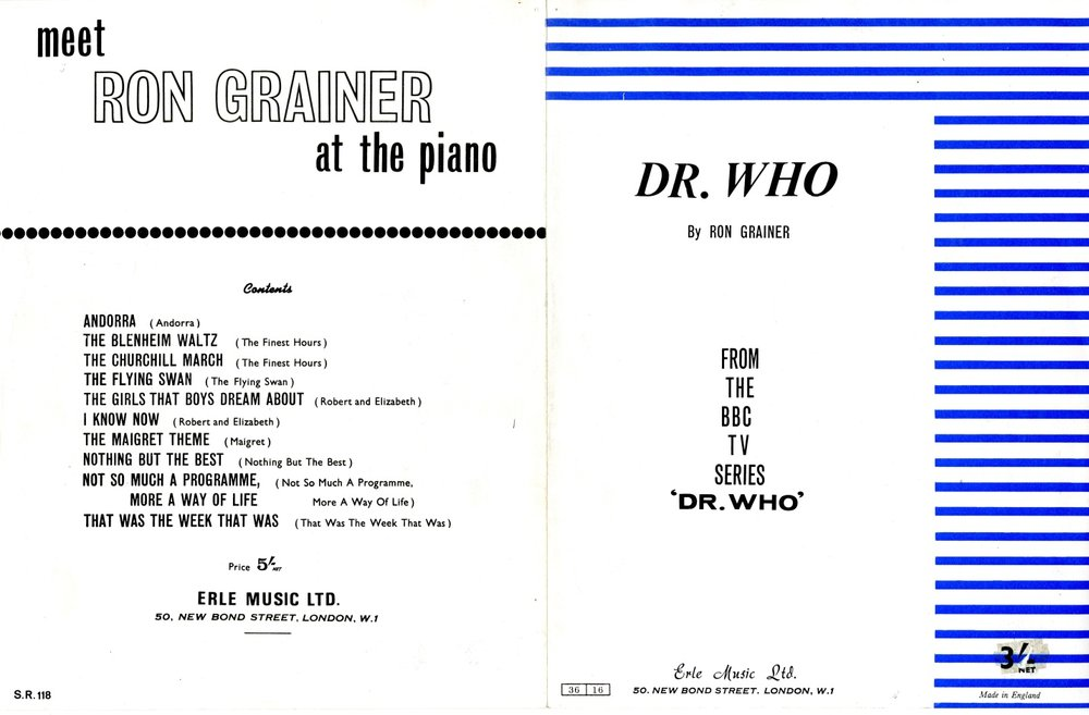 Sheet music of the Doctor Who theme arranged for piano. Published by Erle Music Ltd.