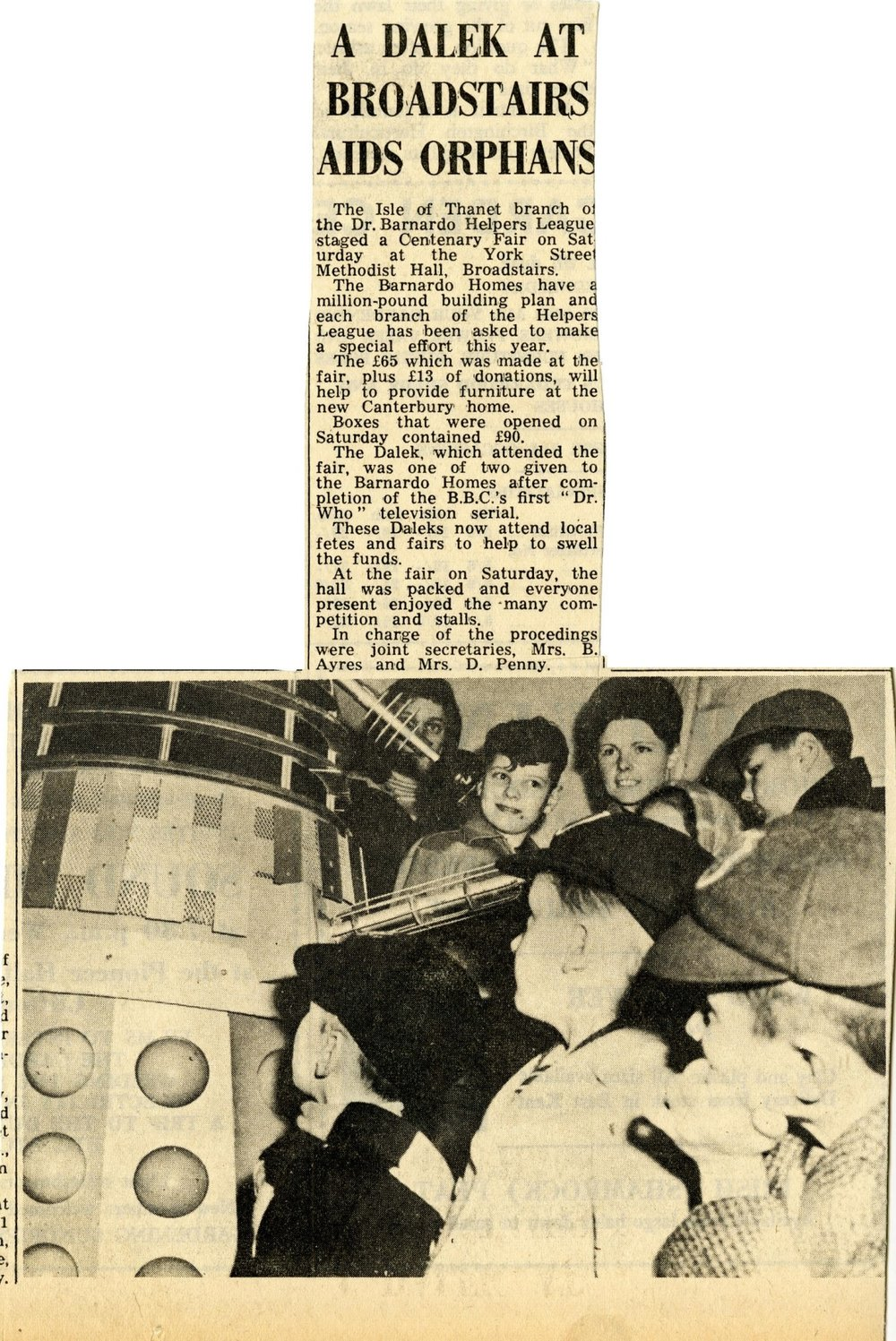 Article about the Dr. Barnardo's Daleks in an unknown Kent newspaper (date unknown).