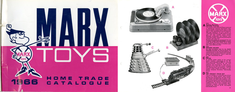 Louis Marx and Company Ltd., Marx Toys 1966 Home Trade Catalogue showing battery-operated Dalek.