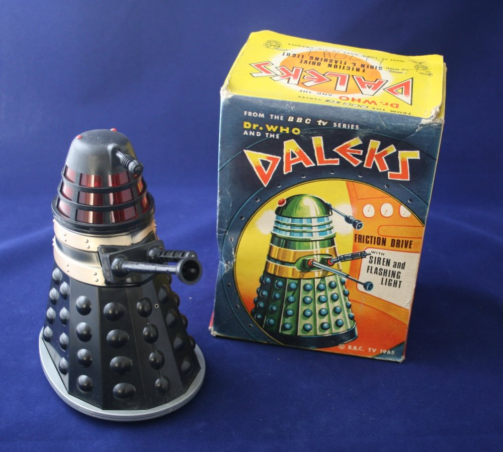 Louis Marx and Company Ltd. Dr. Who and the Daleks Friction Drive with Siren and Flashing Lights (black version; silver version not shown)