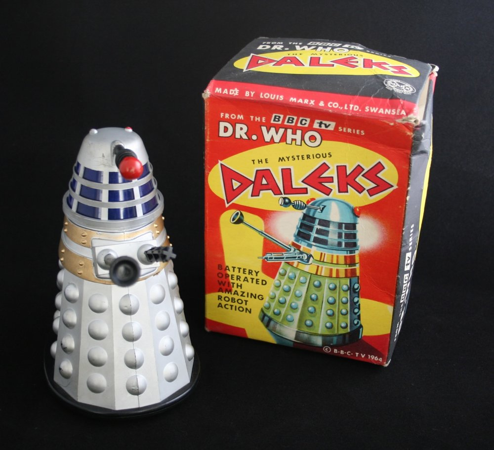Louis Marx and Company Ltd., The Mysterious Daleks, a battery-operated toy with amazing robot action (silver version with black base in second version of box).