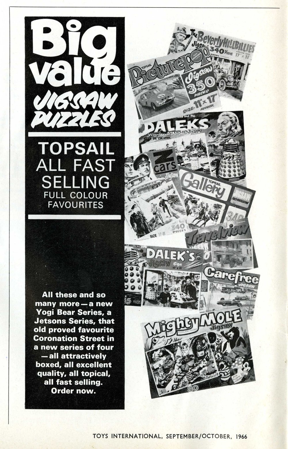 Ad. for Thomas Hope and Sankey Hudson Jigsaws in Toys International, September-October 1966.