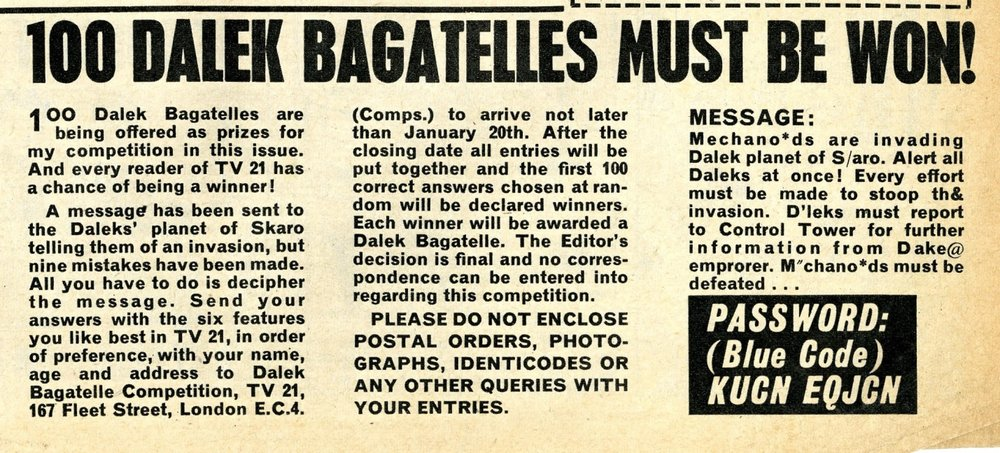 Competition for Louis Mark & Co. Dalek bagatelles in TV Century 21 #52, 15 January 2066 (1966).