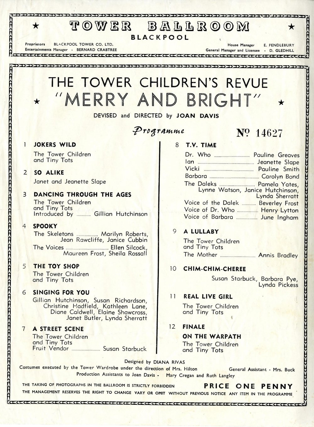 "Programme for The Tower Children's Revue, ""Merry and Bright,"" The Tower Ballroom, Blackpool, including a Doctor Who skit."