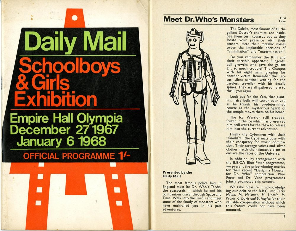 Catalogue for the Daily Mail Schoolboys & Girls Exhibition, December 27, 1967 - January 6, 1968, featuring a display of Dr. Who's monsters
