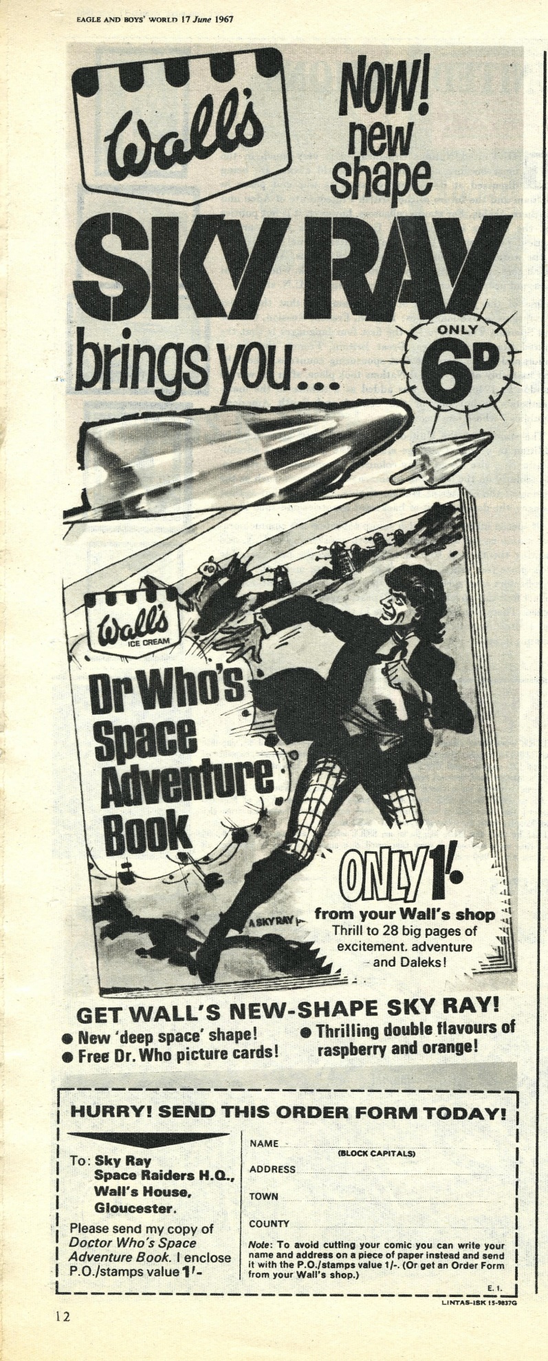 Ad. for Wall's Sky Ray in Eagle & Boys World, vol. 18, number 24, 17 June 1967