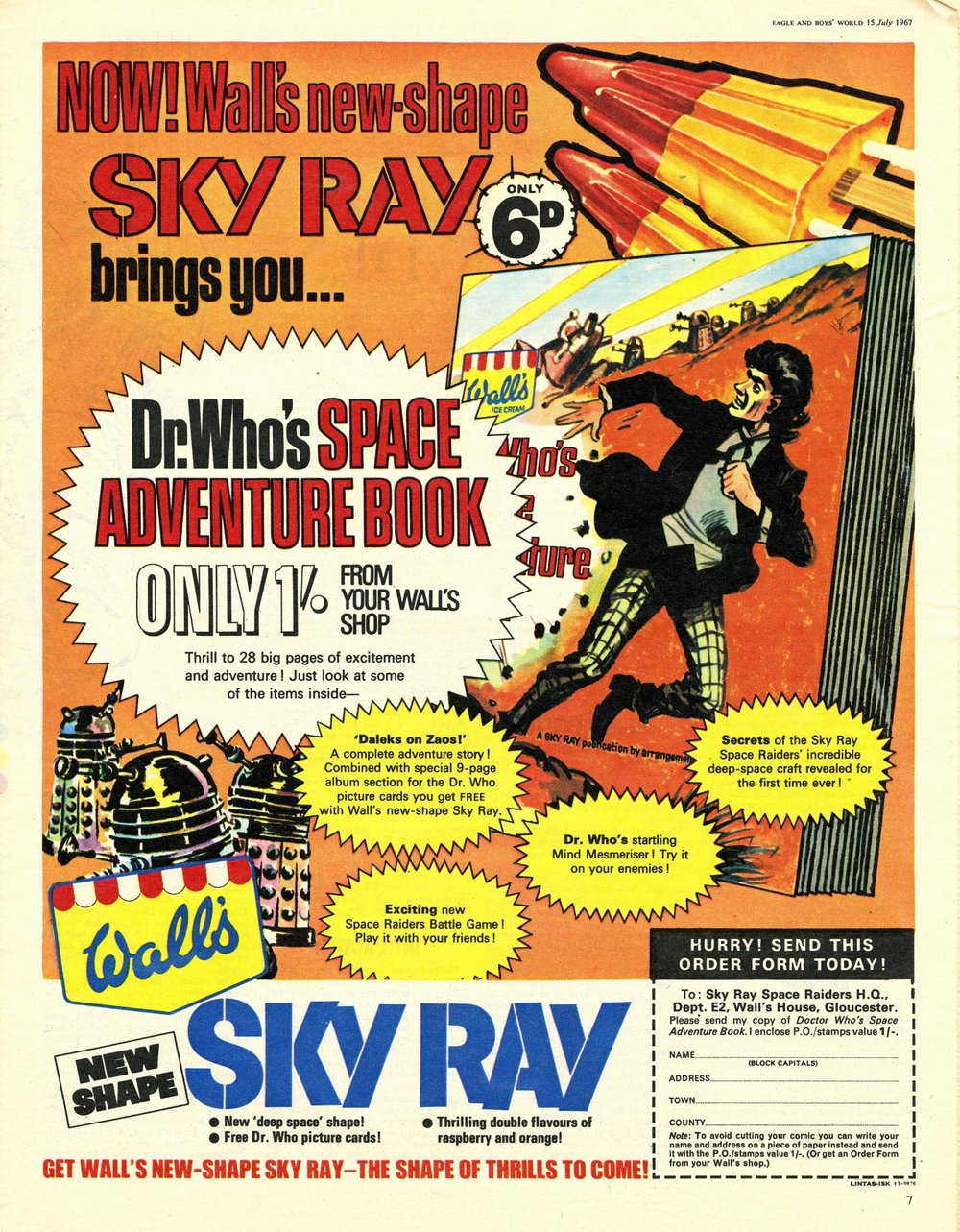 Ad. for Wall's Sky Ray in Eagle & Boys World, vol. 18, number 28, 15 July 1967