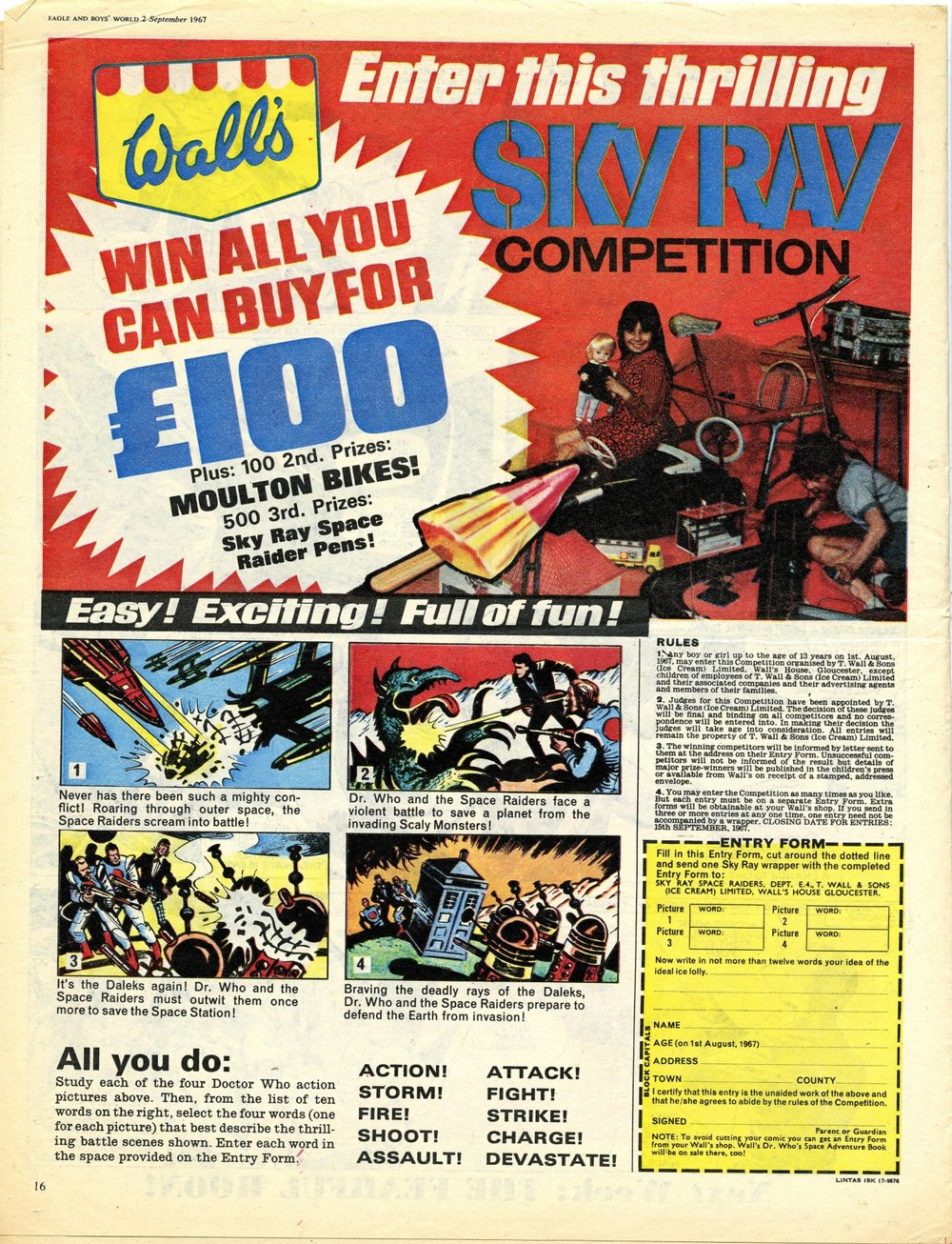 Ad. for Wall's Sky Ray in Eagle & Boys World, vol. 18, number 35, 2 September 1967