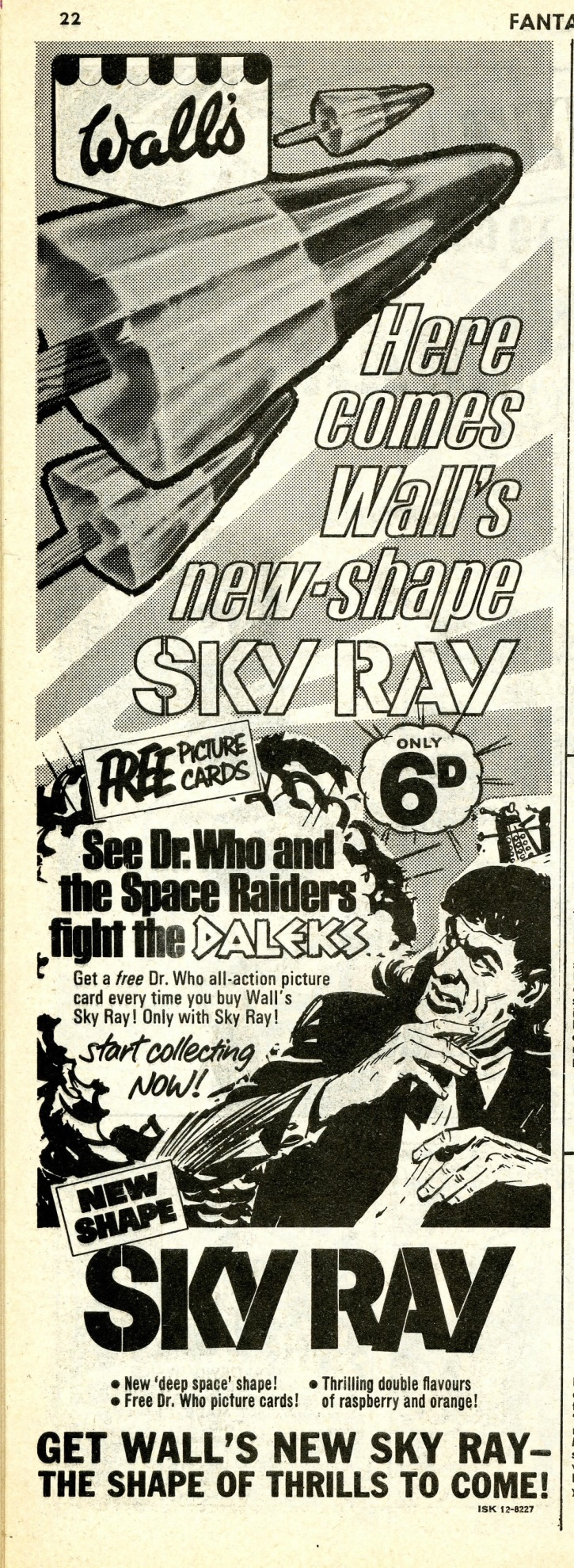 Ad. for Wall's Sky Ray in Fantastic comic, number 15, 27 May 1967