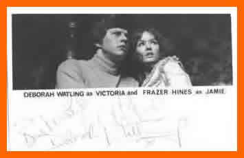 WANTED - BBC cast card featuring Deborah Watling as Victoria and Frazer Hines as Jamie