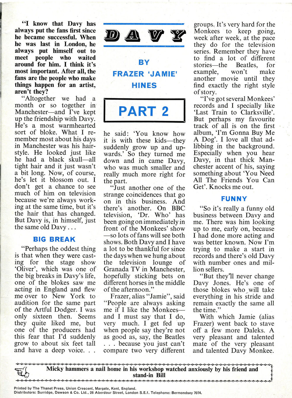 Interview with Frazer Hines (part 2) in The Monkees Monthly, number 12, December 1967