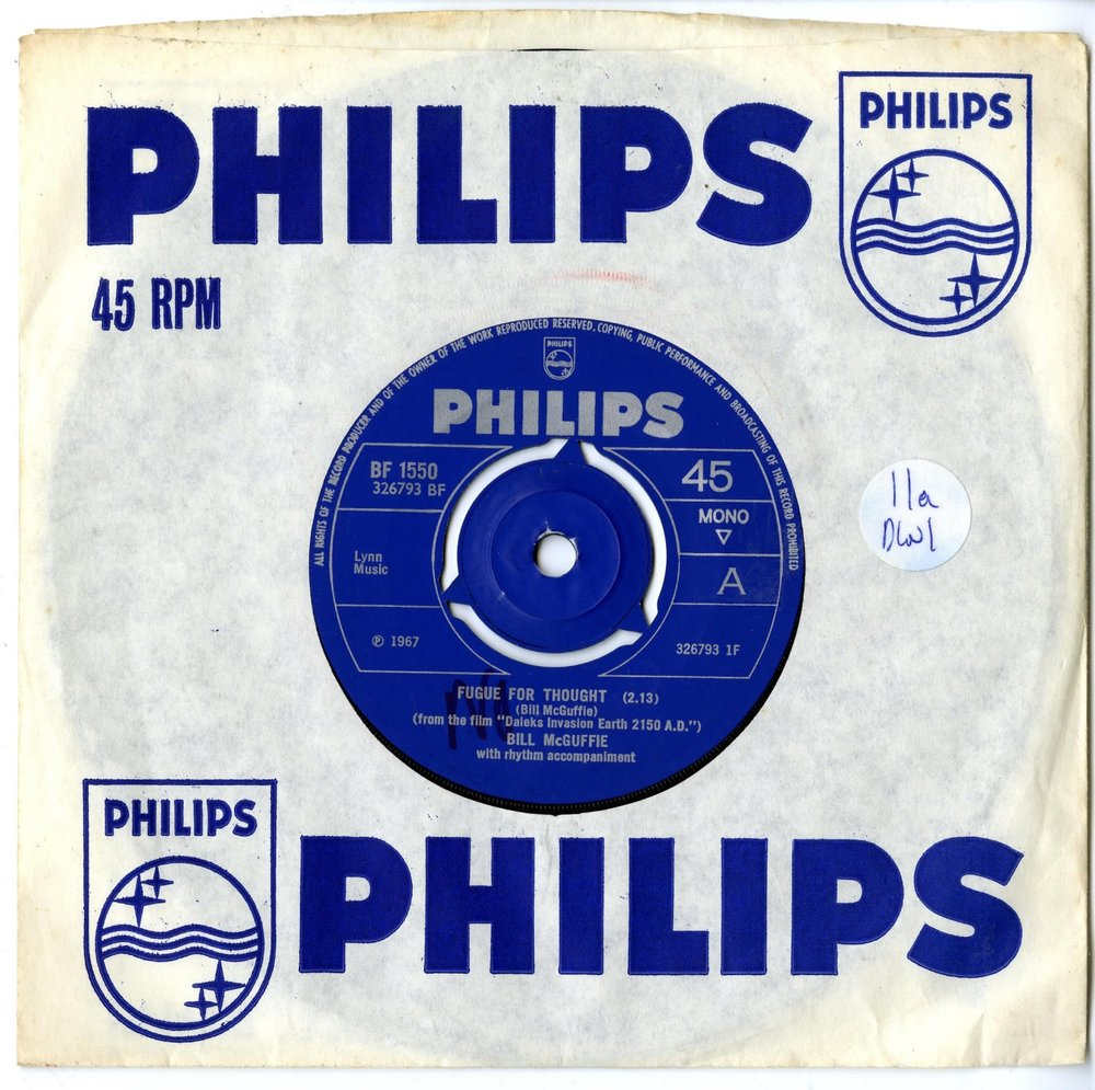 "Philips Records, Fugue for Thought (from the film ""Daleks Invasion Earth 2150AD"") by Bill McGuffie, cat. no. BF 1550"