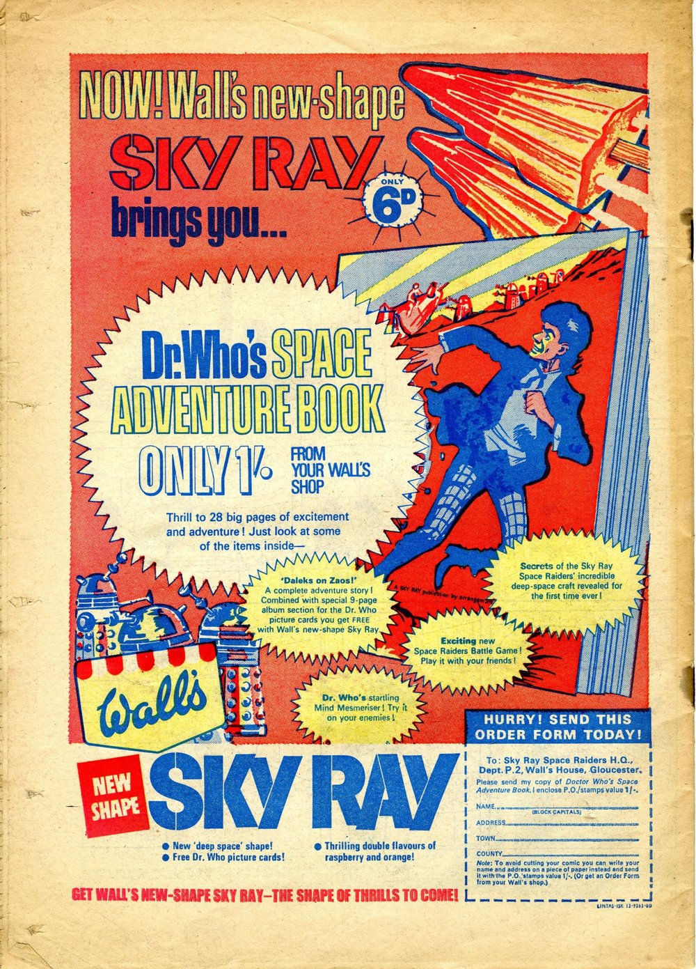 Ad. for Wall's Sky Ray in Pow comic, number 26, 15 July 1967