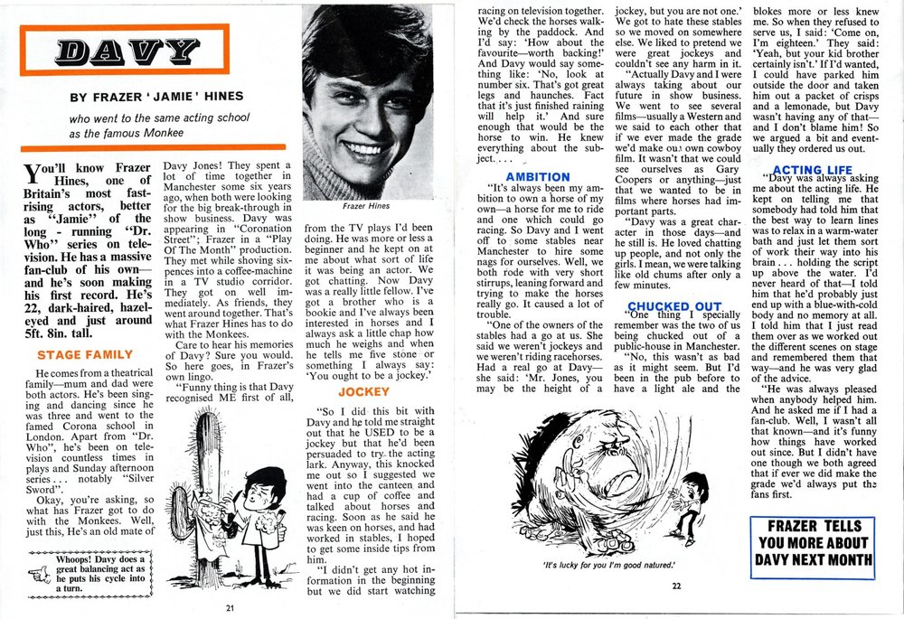 Interview with Frazer Hines (part 1) in The Monkees Monthly, number 11, November 1967
