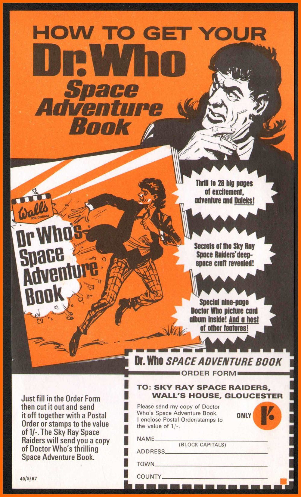 WANTED - Order form for Dr. Who's Space Adventure Book, which held the cards from the Wall's Sky Ray promotion (Image courtesy of Richard Bignell)