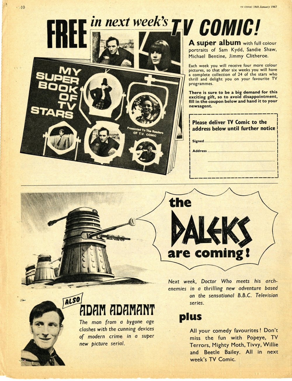 Preview of the Daleks' appearance in TV Comic and an ad. for My Super Book of TV Stars, TV Comic number 787, 14 January 1967