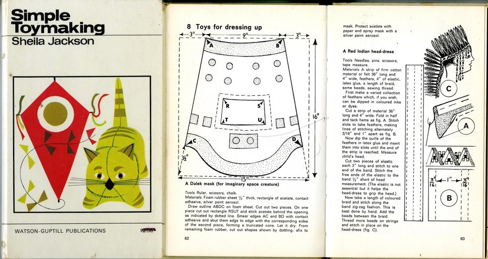 Toys for dressing uo: A Dalek mask in Simple Toymaking by Sheila Jackson, Studio Vista/Watson-Guptill Publications, 1966