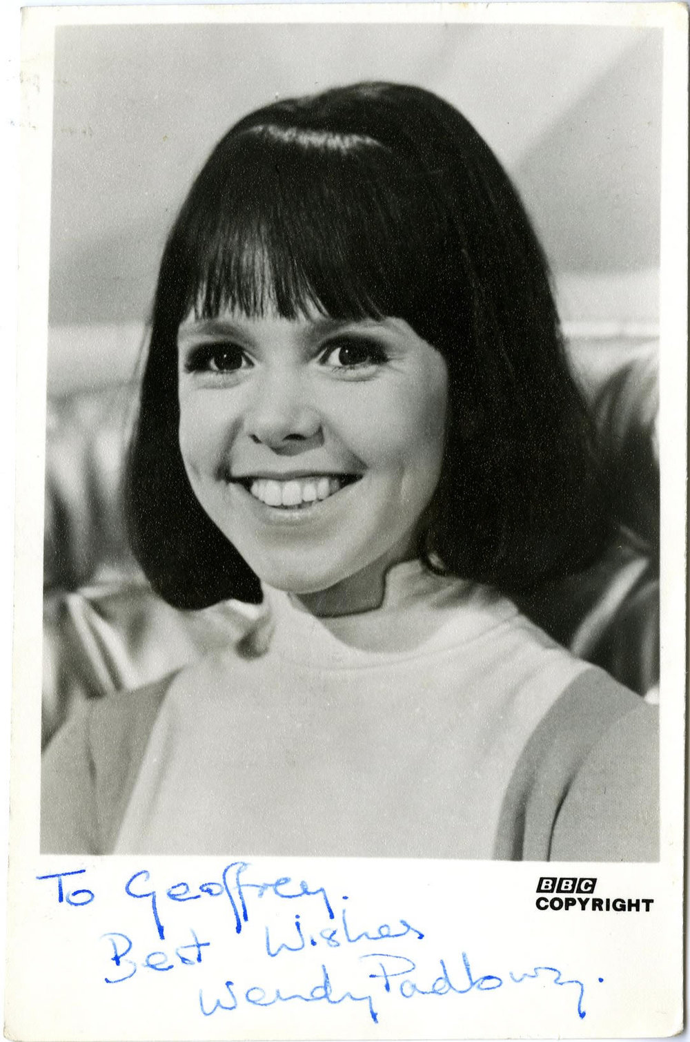 BBC TV Cast Card for Wendy Padbury as Zoe Heriot