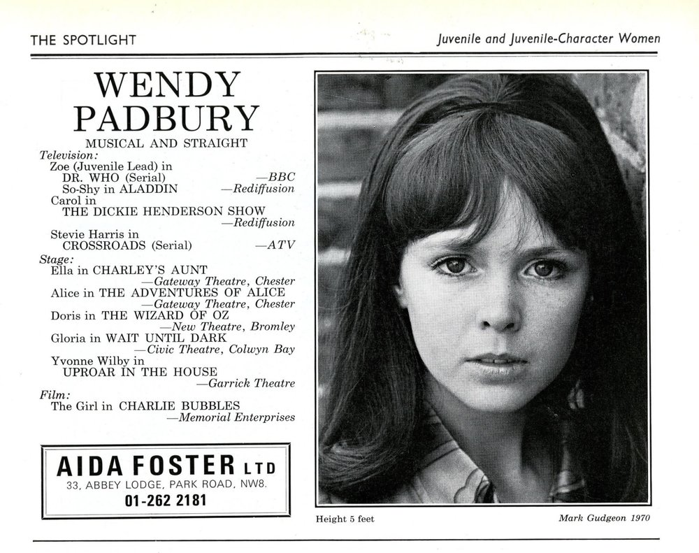 Wendy Padbury's listing in The Spotlight, 1970