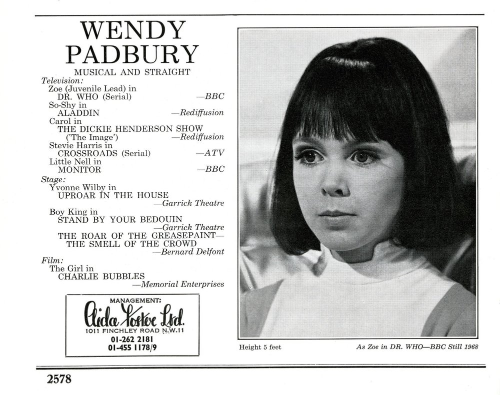 Wendy Padbury's listing in The Spotlight, 1969