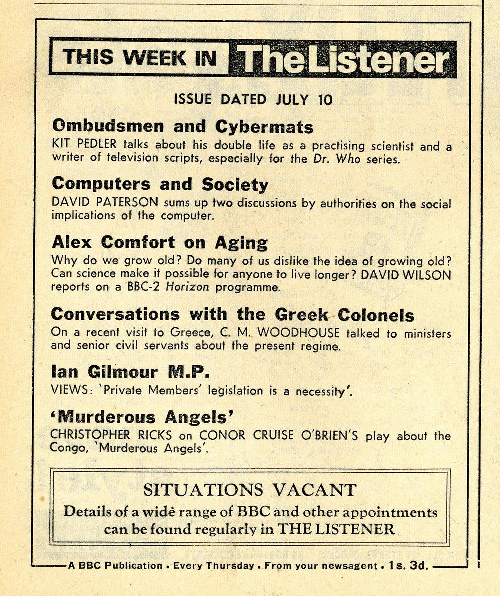 Radio Times, 12-18 July 1969