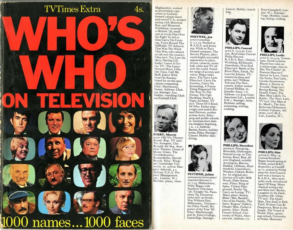 TV Times Extra, Who's Who on Television, published 1970