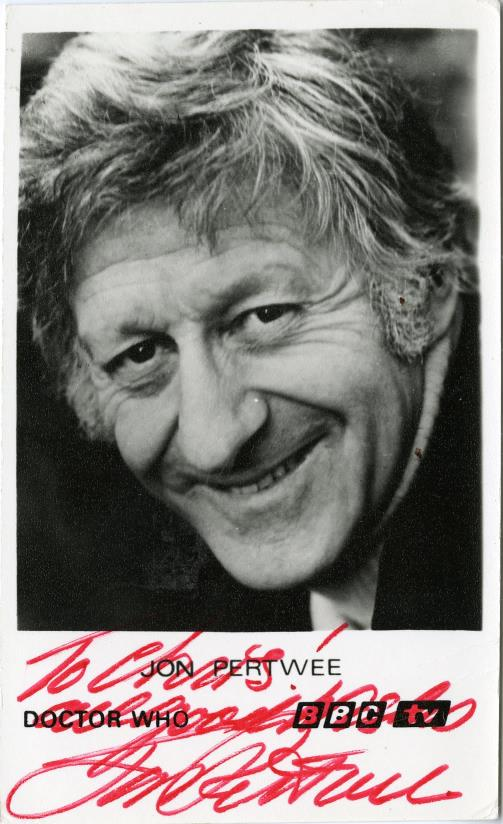 BBC Cast Card of Jon Pertwee as the Doctor