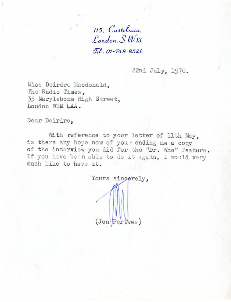 Letter from Jon Pertwee to the Radio Times, 22 July, 1970