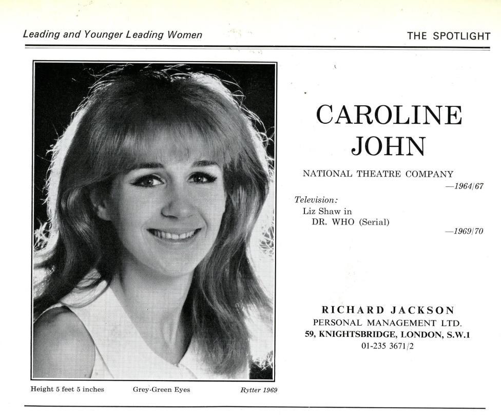Caroline John's entry in The Spotlight, 1970