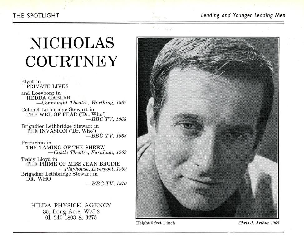 Nicholas Courtney's entry in The Spotlight, 1970