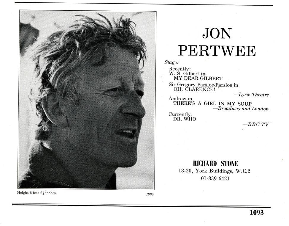 Jon Pertwee's entry in The Spotlight, 1970