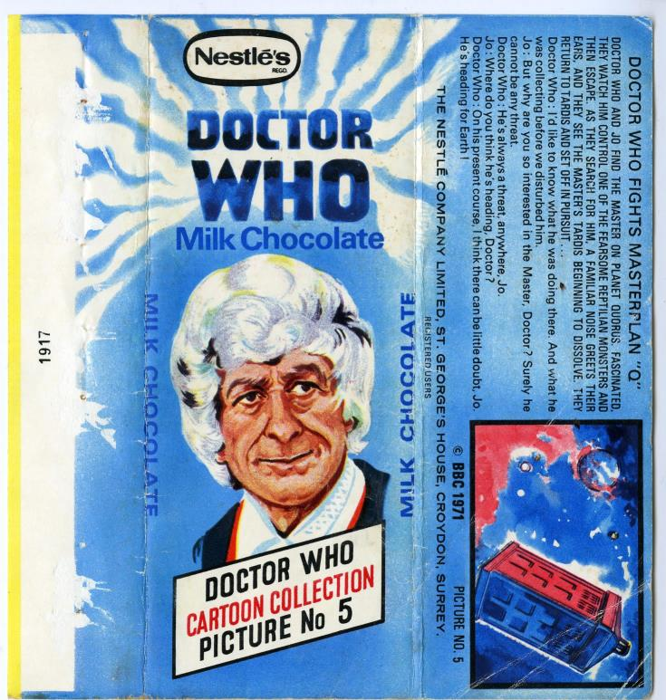 Nestle Doctor Who Milk Chocolate wrapper no. 5, unpriced version
