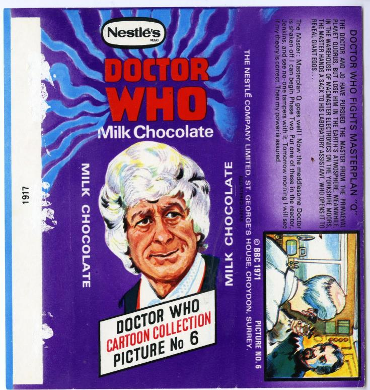 Nestle Doctor Who Milk Chocolate wrapper no. 6, unpriced version
