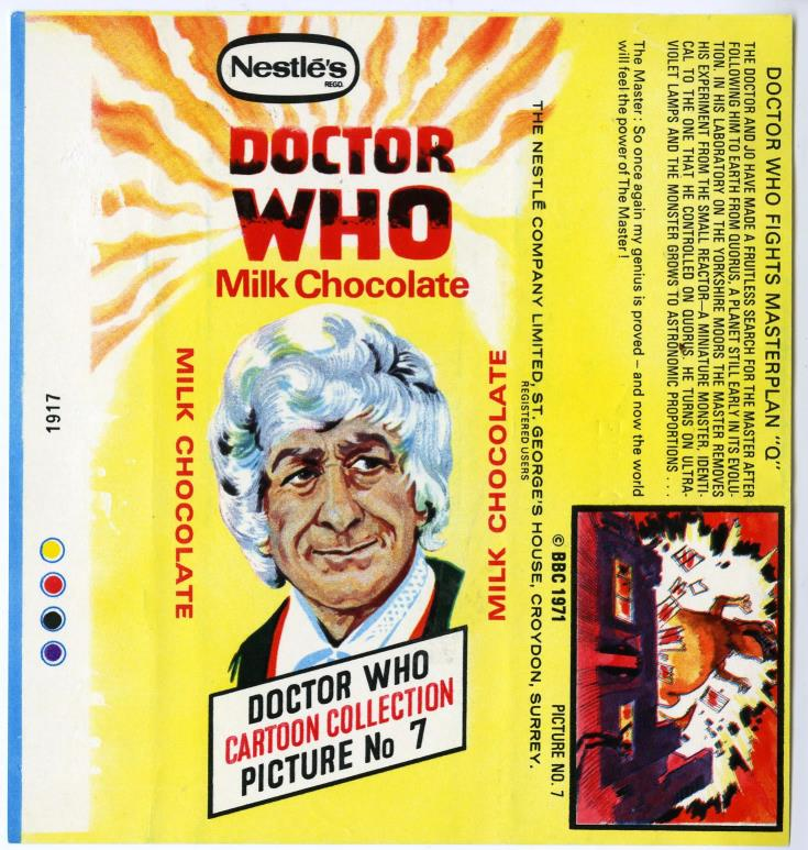 Nestle Doctor Who Milk Chocolate wrapper no. 7, unpriced version