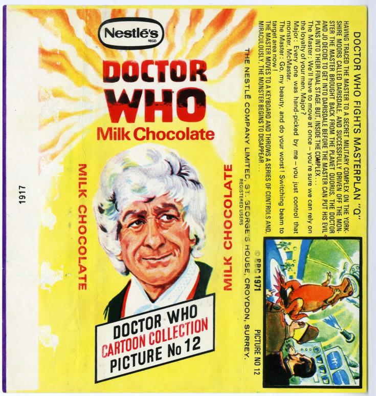 Nestle Doctor Who Milk Chocolate wrapper no. 12, unpriced version