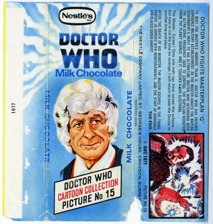 Nestle Doctor Who Milk Chocolate wrapper no. 15, unpriced version