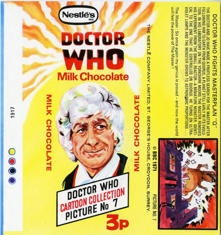 Nestle Doctor Who Milk Chocolate wrapper no. 7, original priced version