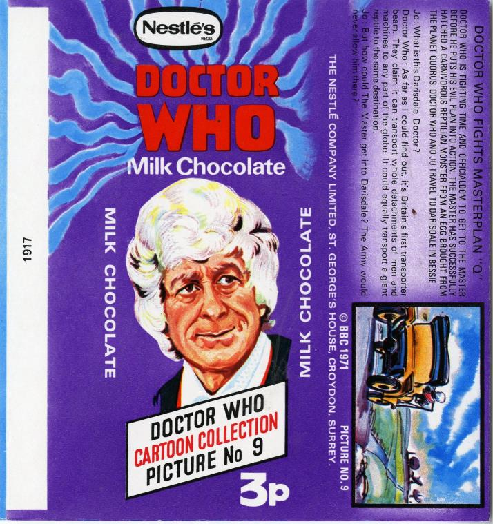Nestle Doctor Who Milk Chocolate wrapper no. 9, original priced version