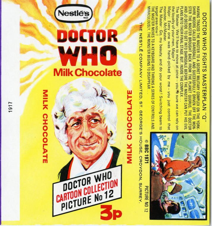Nestle Doctor Who Milk Chocolate wrapper no. 12, original priced version