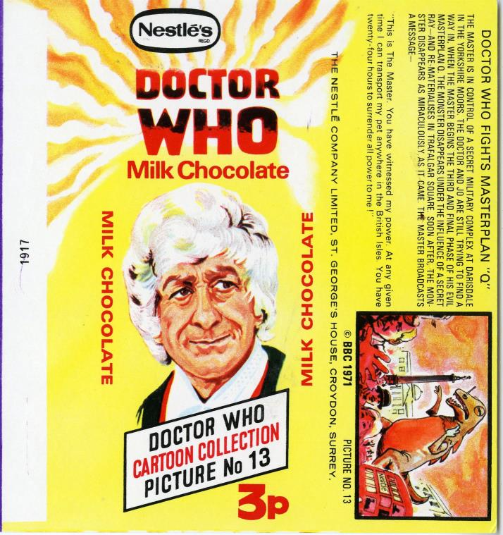 Nestle Doctor Who Milk Chocolate wrapper no. 13, original priced version