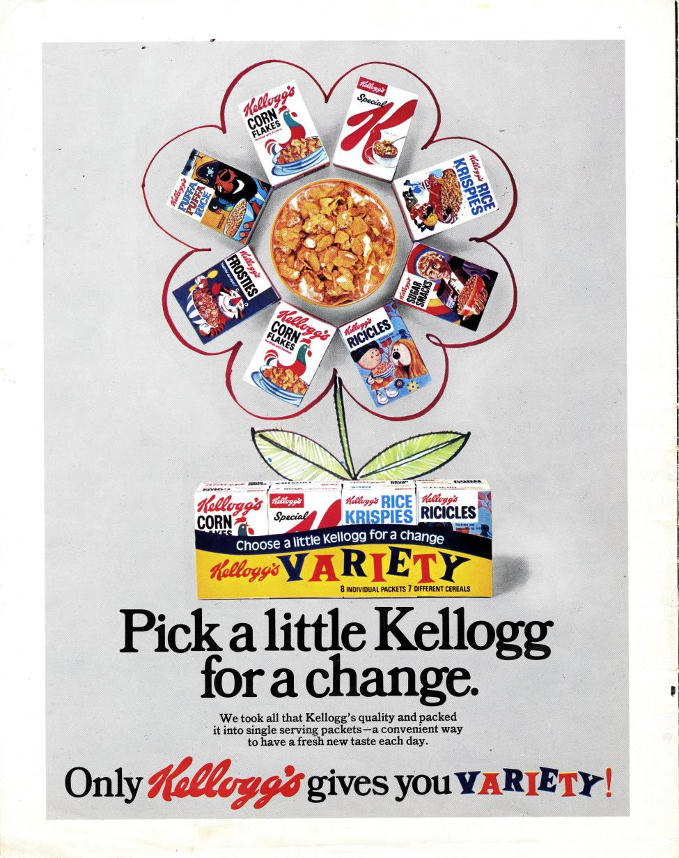 Ad. for Kellog's Variety Pack showing Sugar Smacks Doctor Who promotion, from Woman and Home, July 1972