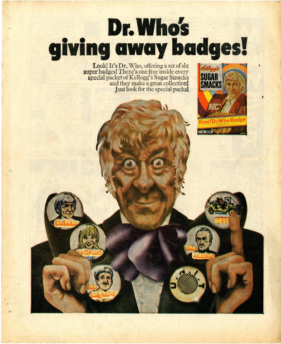 Ad. for Kellog's Sugar Smacks Doctor Who badge promotion, from Lion and Thunder, 3 October 1971
