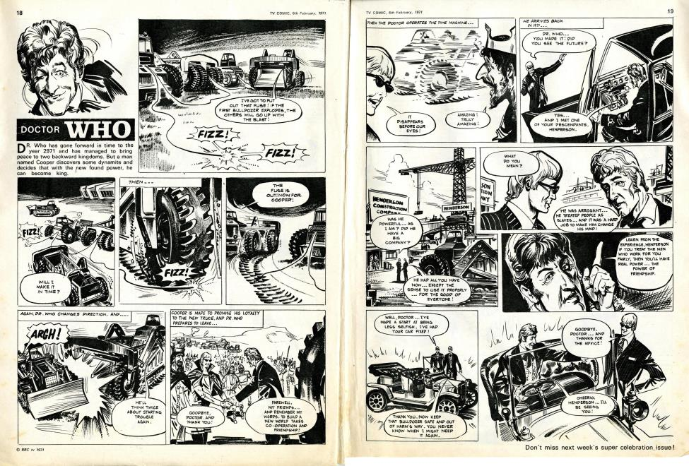 TV Comic issue 999, 6 February 1971; final Doctor Strip before Countdown and introduction of Bessie