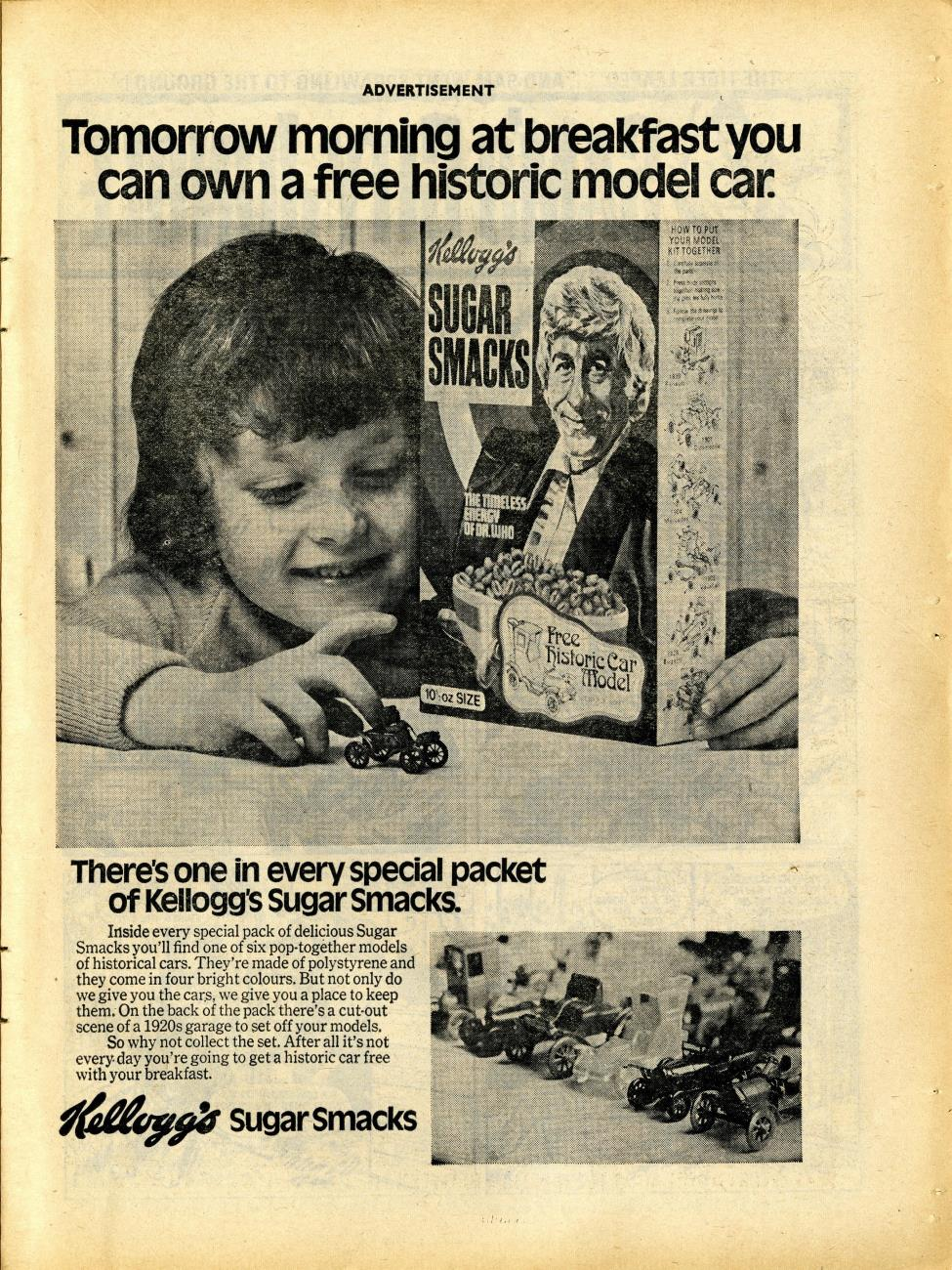 Ad. for Kellog's Sugar Smacks historic car models promotion, in Buster and Jet, 26 March 1972